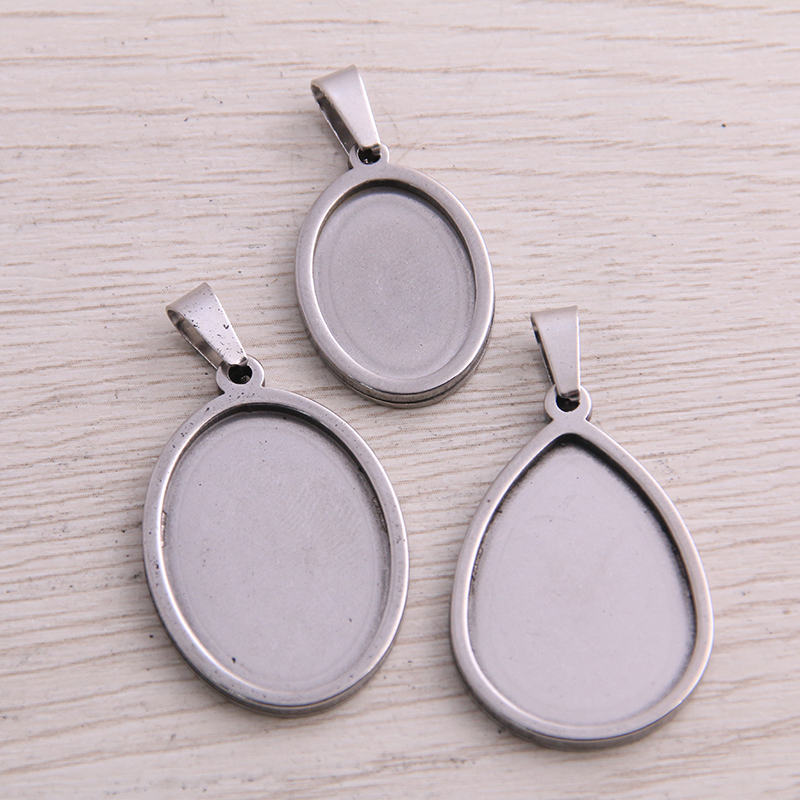 5pcs Stainless Steel Oval Cabochon Tray 18x25mm 13x18mm Dia Gold Plated Pendant Base Settings Diy Blank Jewelry Bezels
