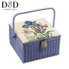 Grande cesta de armazenamento de costura com acessórios de costura ferramentas de madeira artesanal & caixa de artesanato de tecido caixa de presente de natal