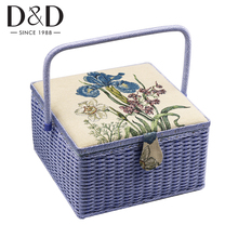 Large Sewing Storage Basket with Sewing Accessories Tools Handmade Wood&Fabric Crafts Box Christmas Gift Box