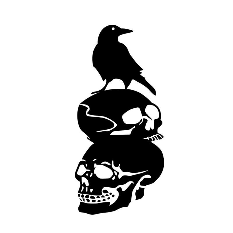 DAWASARU Interesting Halloween Skull Crow Decor Car Sticker Accessories Vinyl Silhouette Custom Sunscreen Waterproof  8cm*18cm