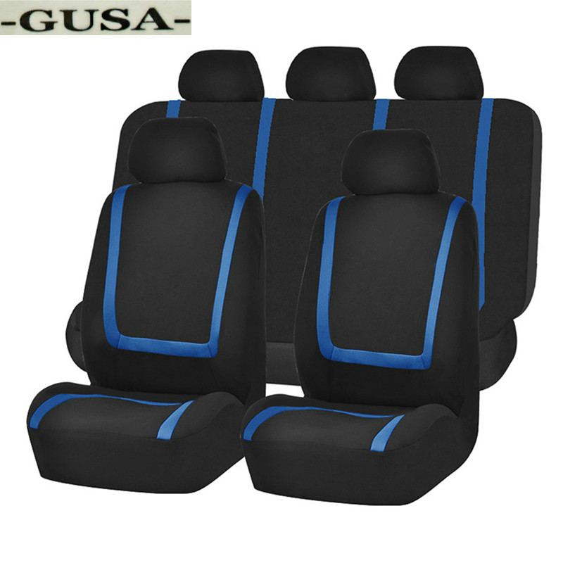UNIVERSAL CAR FLOOR MATS BLACK WITH BLUE TRIM FOR HYUNDAI ACCENT COUPE ix20