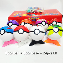8pcs Original Pokemon Pokeball Toys Genuine Pokemones Pokeball with Belt Dolls Action Figure Model Toys for Children with Box
