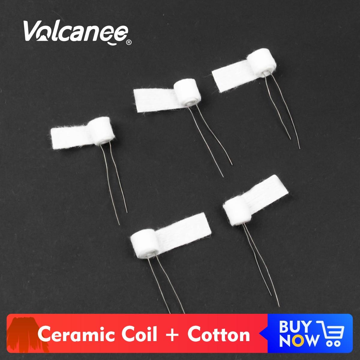 Volcanee Premade Ceramic Coil Cotton Sliver 1.0ohm 1.2ohm Oil-Absorbing For CBD Vape Cartridge DIY ECig Ceramic Heating Wire