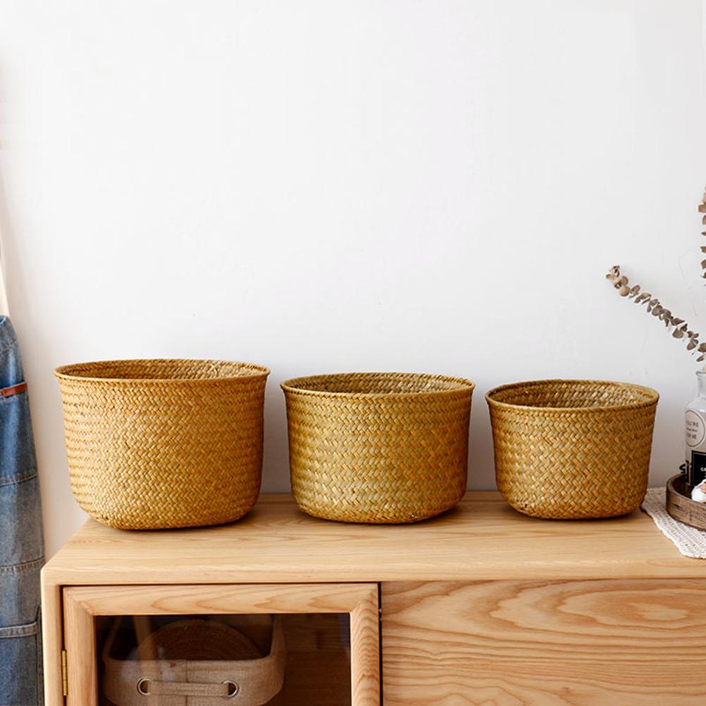 Nordic Style Hand-woven Storage Basket Flower Pot Fruit Rattan Basket Plant Pot Container Collapsible Seagrass Laundry Basket