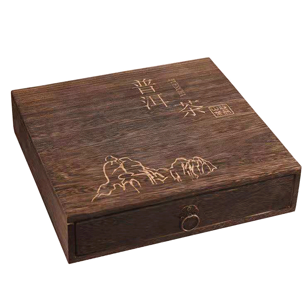 Wooden Tea Box Elegant Accessories Herbs Storage Organizer Canister Package Jewelry Flip Cover Square Portable Gift Vintage