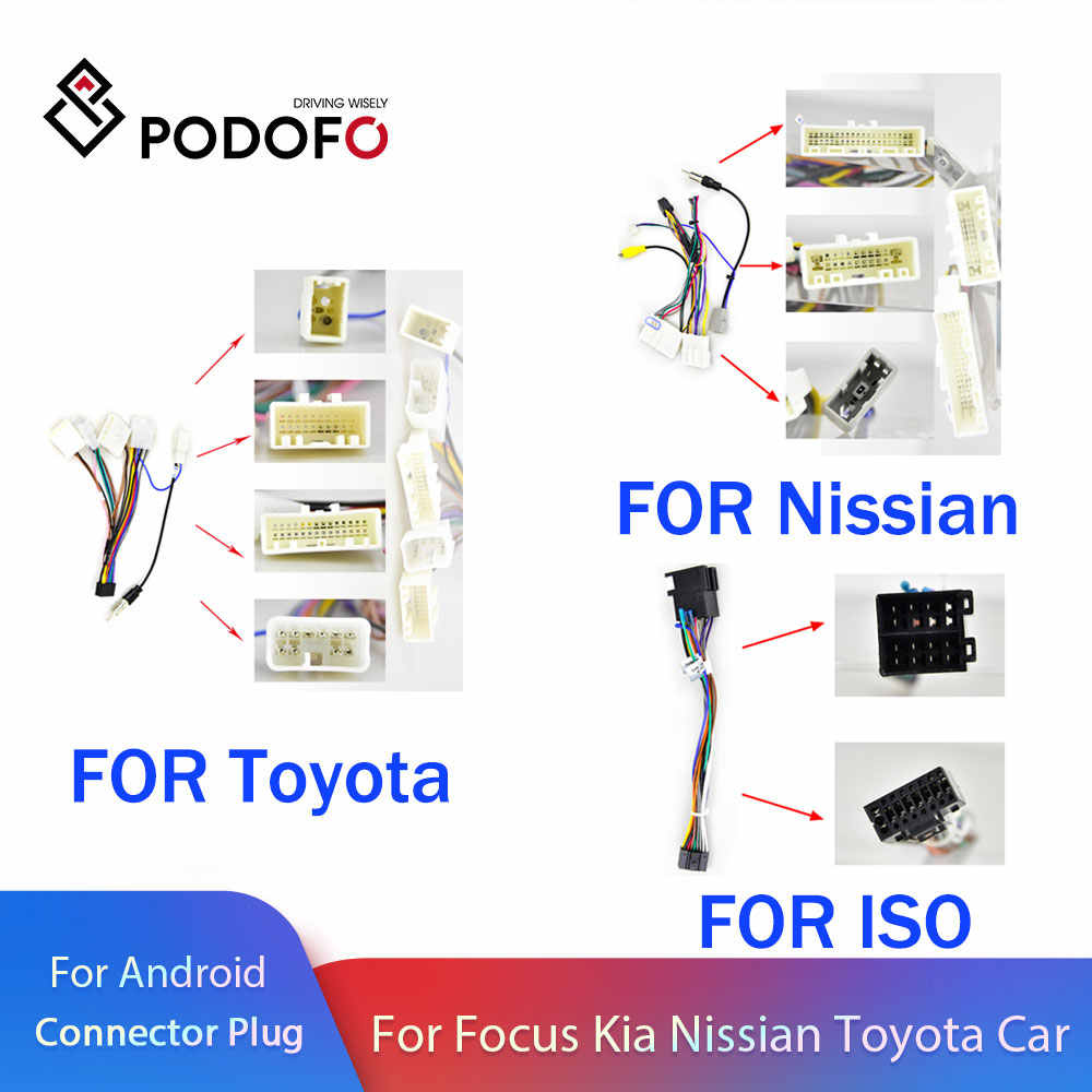 Podofo 2 Din Auto Android Radio Kabel Voor Volkswagen Iso Hyundai Kia Honda Toyota Nissan Ford Universele Adapter Connector Plug
