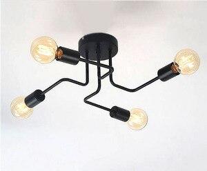 Image 3 - Люстра из кованого железа, с несколькими стержнями, для гостиной, винтажные светильники, промышленные, для чердака, нордическое домашнее освещение