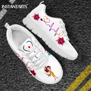 INSTANTARTS New Cartoon Nurse Shoes for Women Medical Heart Beat Brand Design Breathable Sneakers Flats Shoes Zapatos Mujer