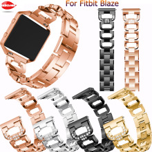 Luxury Stainless steel wristband+Bezel For Fitbit Blaze smart watch Fashion classic bracelet straps accessories