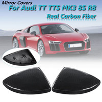 1 Pair Real Carbon Fiber Car Rearview Mirror Wing Side Cover Replacement Style for Audi TT TTS MK3 8S R8 2016 2017 2018