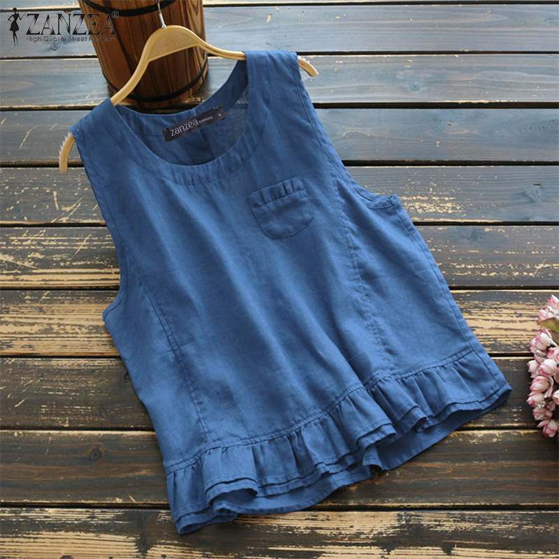 Summer Tanks Tops Women Sleeveless Ruffles Blouse ZANZEA Bohemian Shirt Vintage Cotton Linen Top Tunic Femme Casual Solid Blusas