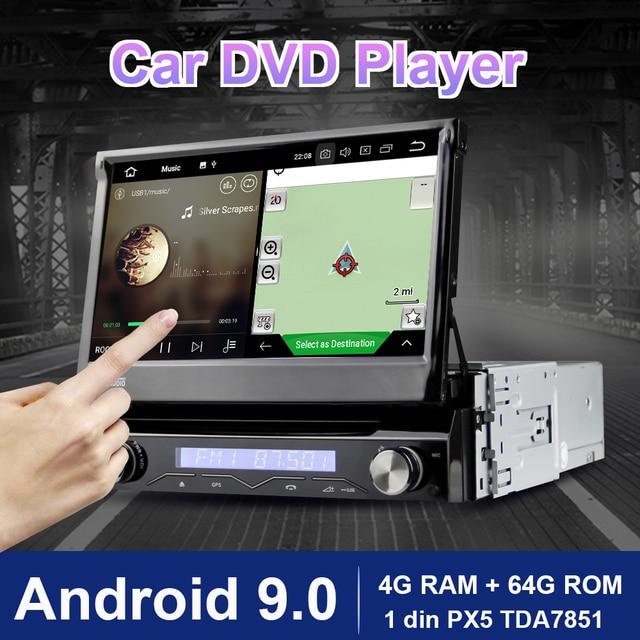 Eunavi 1 Din Android 9.0 8 Core Car DVD Player For Universal GPS Navigation Stereo Radio WIFI MP3 4G RAM 64G ROM Audio USB SWC