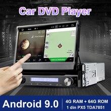 Eunavi 1 din android 9.0 8 núcleo do carro dvd player para navegação gps universal rádio estéreo wifi mp3 4g ram 64g rom de áudio usb swc