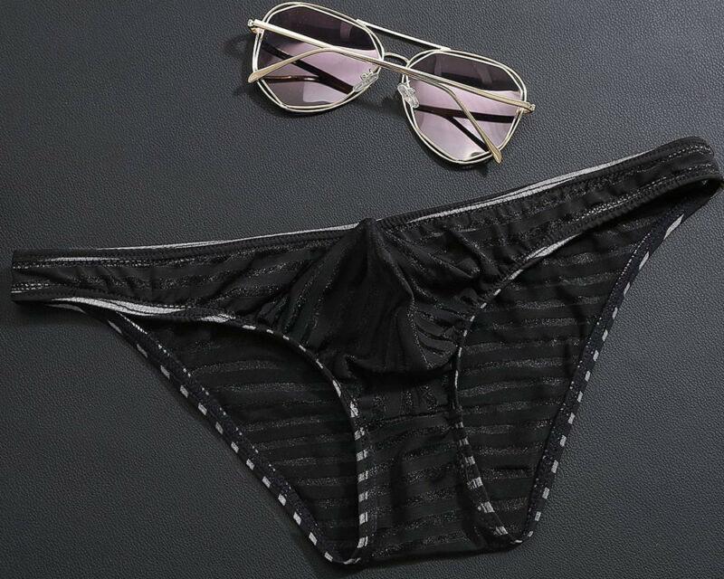 Sexy Men Transparent Pouch Underwear Thong G-string  Briefs Low Rise