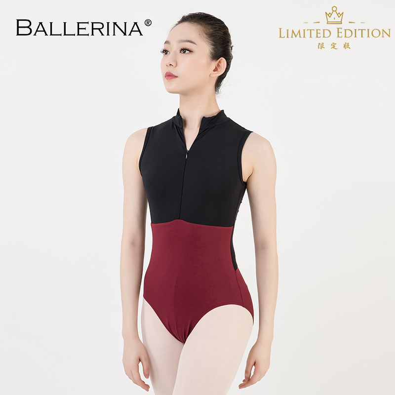 Ballet Dance Practice Black Mesh Leotard Women Gymnastics Turtleneck Sleeveless Leotard Ballerina 5681