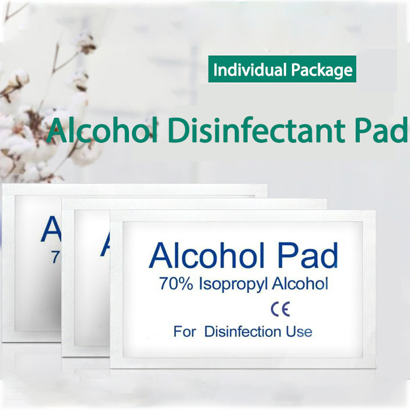 100pcs /Pack Alcohol Disinfection Pad Wet Paper With The Packing For Tableware Wound Sterilization Disposable Disinfect Pads