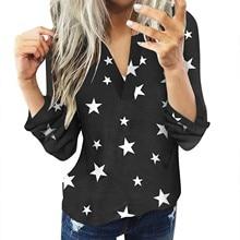 Shirt Jacket Star-Print Women Casual Blouses Top V-Neck Long-Sleeve Slim Sexy Cotton