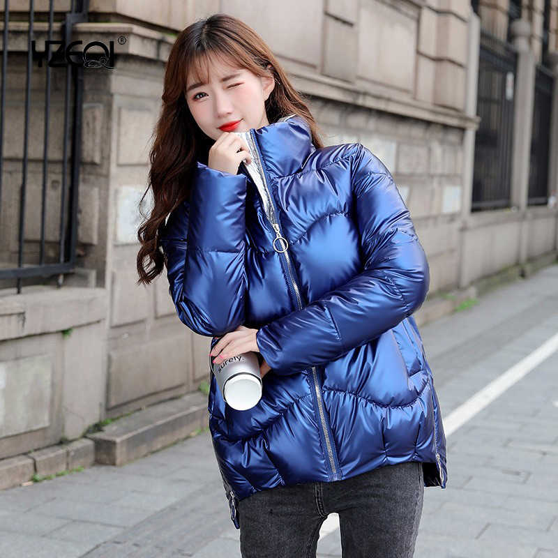Yzeqi 2020 Autumn Winter Women's Coats Fashion Glossy Warm Jacket Stand Collar Parkas Women Casual Shinny Padded Cotton Parkas