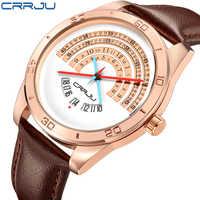 CRRJU Männer luxus Sport leder Uhren Männlich Lustig Binary kalender Uhr Japan Bewegung Wasserdichte Armbanduhr erkek kol saati