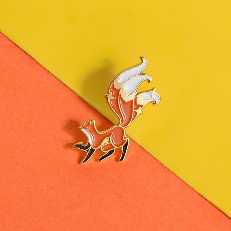 Little Fox Enamel Pin Custom Mini Animal Brooches for Shirt Lapel Backpack Cartoon Big Tail Fox Badge Jewelry Gift for Friends 6