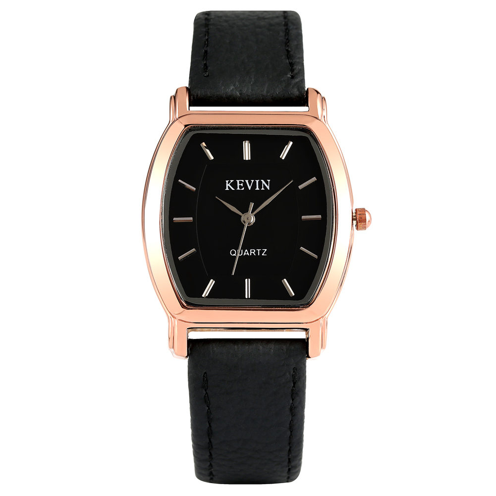 KEVIN Charming Rectangle Case Quartz Watch For Men Durable Leather Strap With Pin Buckle Large Dial With No Numerals Wristwatch