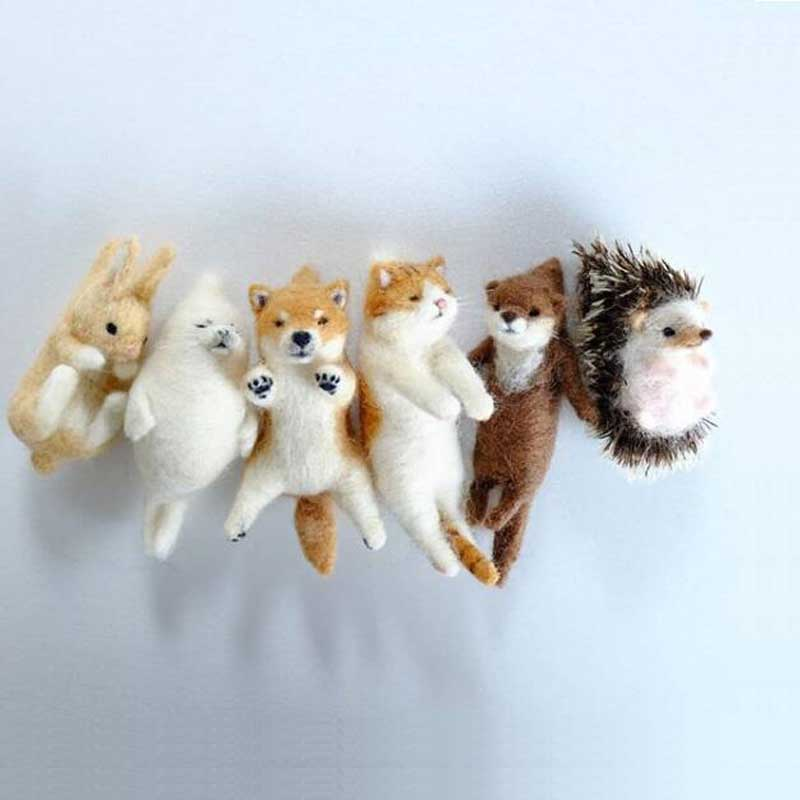2020 Lovely Akita Dog Cat Panda Raccoon Rabbit Animal Wool Needle Felting Package Material DIY Felted Kits Non-finished