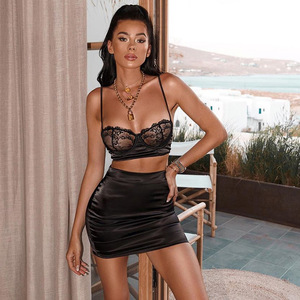 Image 4 - NATTEMAID Sexy Lace Patchwork Two Piece Set  Top And Skirt Summer Women Set dress Elegant Club 2 Piece Set Women Outfit clothes
