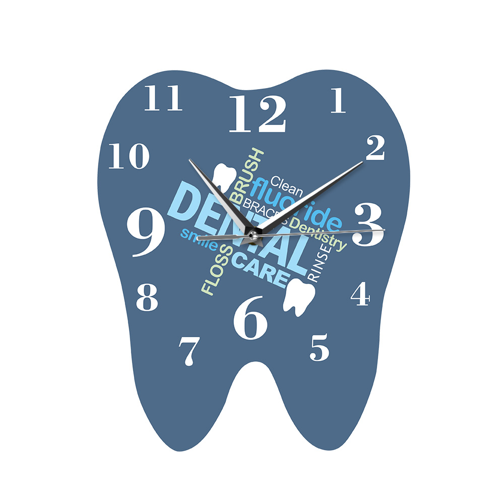 Dental Words Tooth Shaped Wall Clock Dentist Professional Wall Watch Decorative Clinic Ornament Dental Orthodontics Surgeon Gift(China)