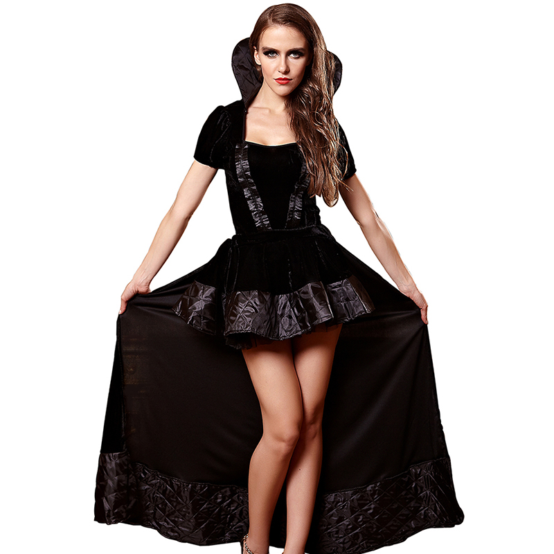Witch Costume for Women Anime Cosplay <font><b>Halloween</b></font> Costume Adult <font><b>Sexy</b></font> <font><b>Queen</b></font> Black Party Dress Carnival Women Clothing image