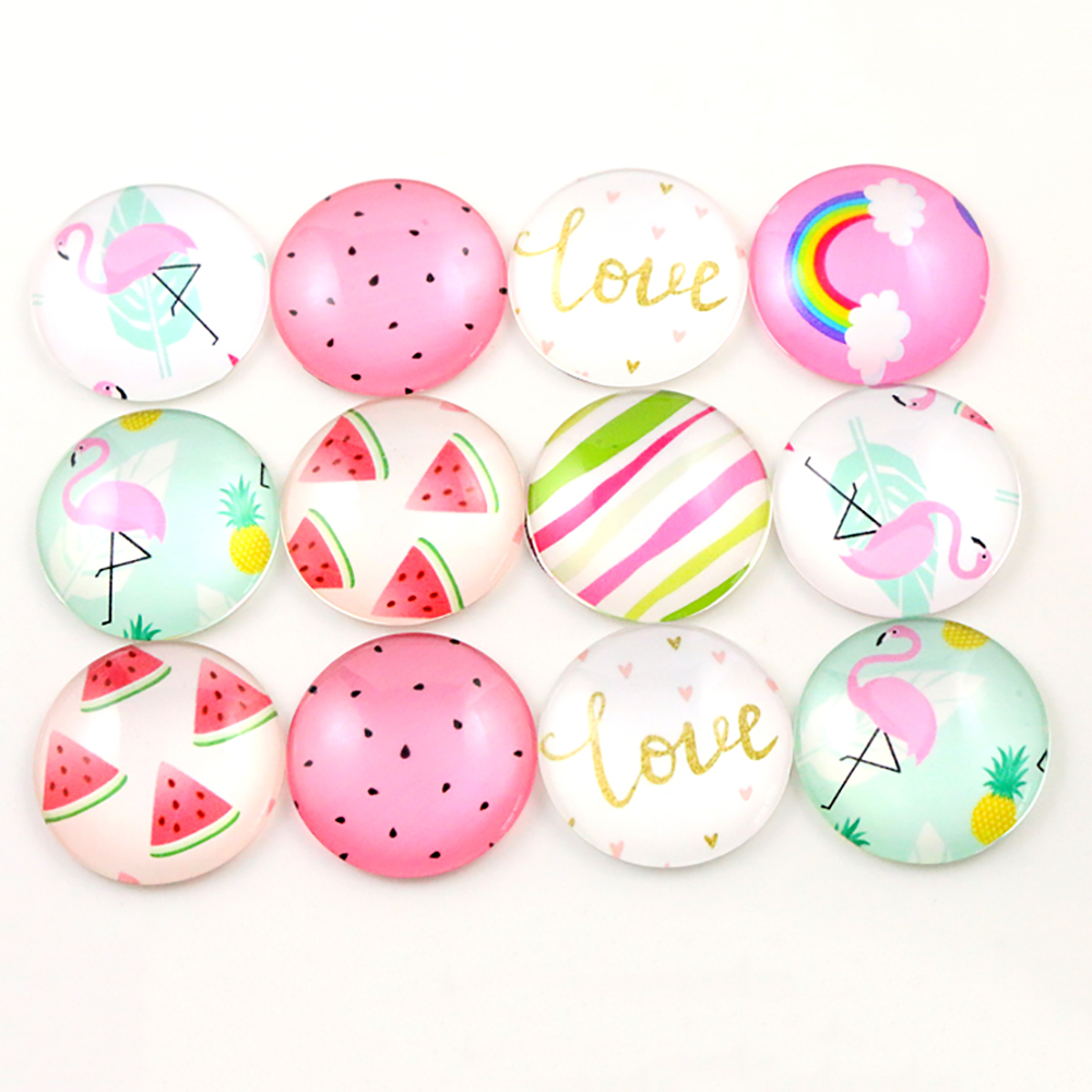 Hot Sale 10pcs 25mm New Fashion Mixed Lovely And Pure Handmade Glass Cabochons Pattern Domed Jewelry Accessories Supplies-F7-44
