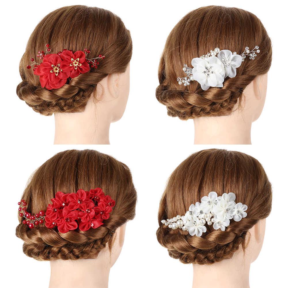 נשים פרל שיער קומבס כלה חתונה שיער אביזרי שיער קליפים פין קריסטל נזר כלה קליפים שיער קישוטי תכשיטים