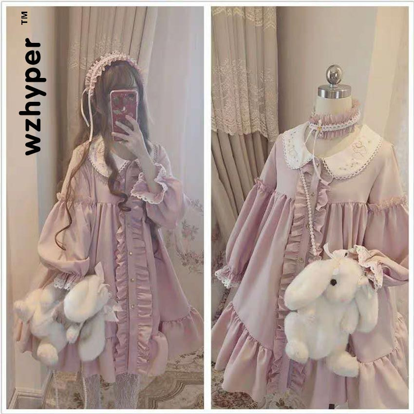 New Arrival Gothic Lolita Dress Soft Sisiter Victorian Medieval Lace Pink Dress Women Princess Dress Halloween Costume For Girls