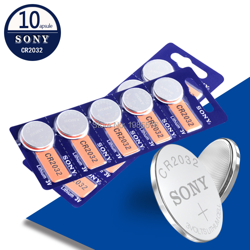 10pcs/lot For Sony CR2032 3V Original Lithium Battery For Watch Remote Control Calculator CR2032 2032 Button Cell Coin Batteries