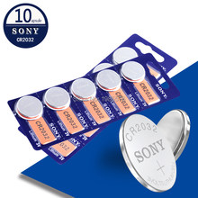 Sony bateria de lítio original CR2032 3V, baterias de moedas de célula de botão CR2032 2032 para relógio, controle remoto e calculadora com 10 peças/lote
