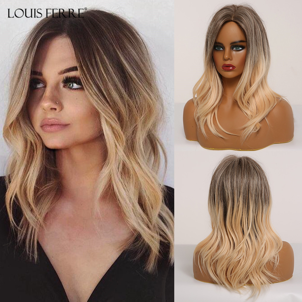 LOUIS FERRE Medium Length Ombre Black Brown Golden Synthetic Wig Side Part Water Wave Cosplay Wig For Woman Heat Resistant Fibre