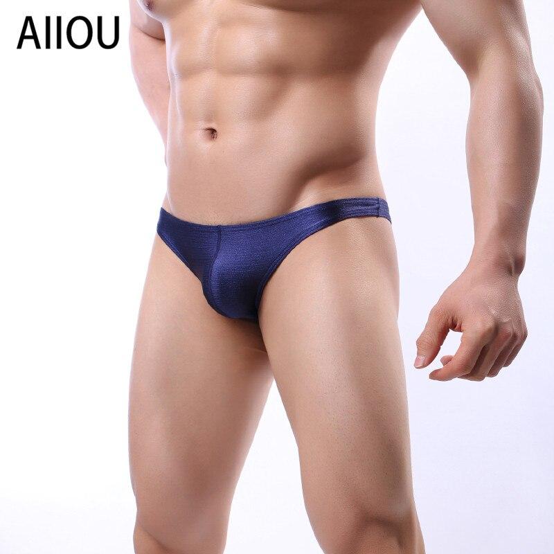 AIIOU мужские ледяные шелковые трусы удобные трусики сексуальные гей-стринги мужское нижнее белье мужские трусы Нижнее белье Трусики-бикини