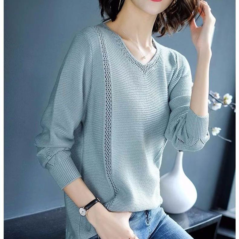 2020 Women Spring Knitted Pullover Tops Long Sleeve O-Neck White Pull Sweater Female Bat Wing Pullovers Sweaters Femme