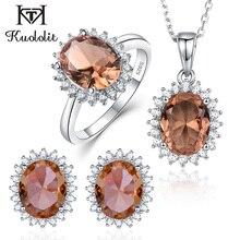 Kuolit ensemble de bijoux pour femmes, pierres précieuses, couleur changeante, collier, boucles doreilles en argent Sterling 925, solides
