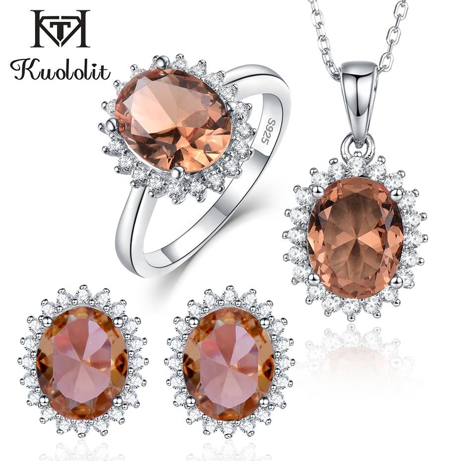 Kuololit Zultanite Edelstein Schmuck Set für Frauen Solide 925 Sterling Silber Ring Ohrringe Halsketten Farbe Ändern Stein für Frauen