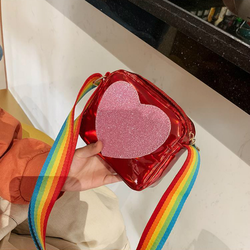 Cute Children's Mini Crossbody Bag PU Leather Rainbow Love Girls Princess Coin Purse Baby Kids Shoulder Bag Small Square Bags