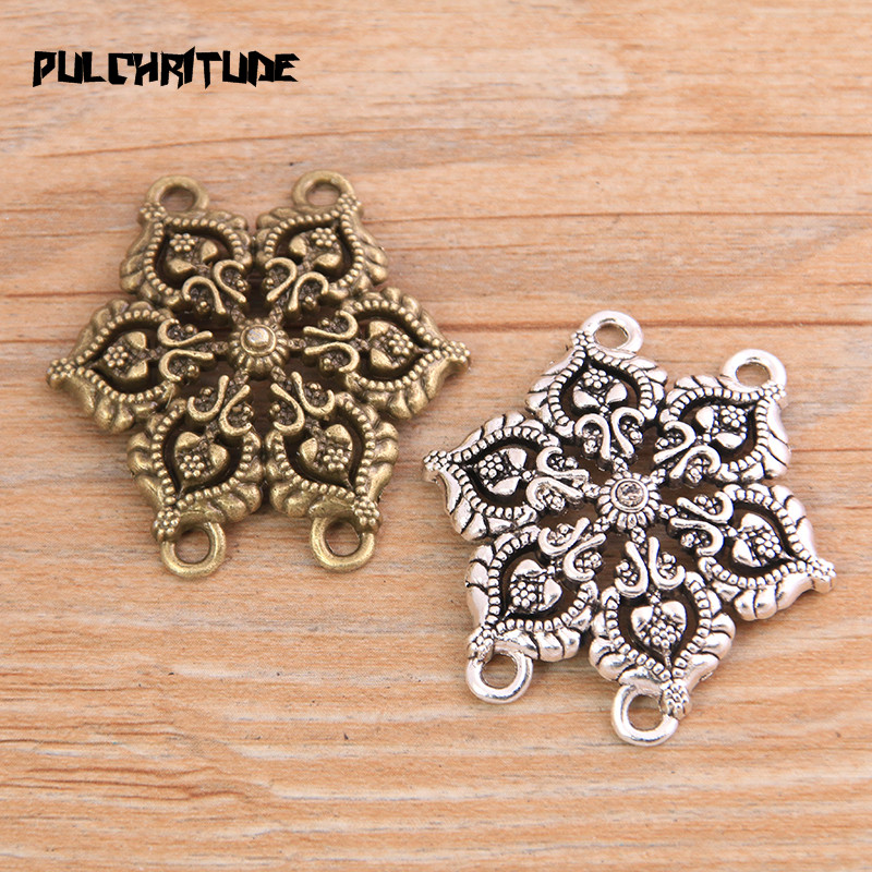 PULCHRITUDE 4pcs 35*36mm New Product Two Color Zinc Alloy Hollow Flower Porous Connectors Jewelry Making DIY Handmade Craft
