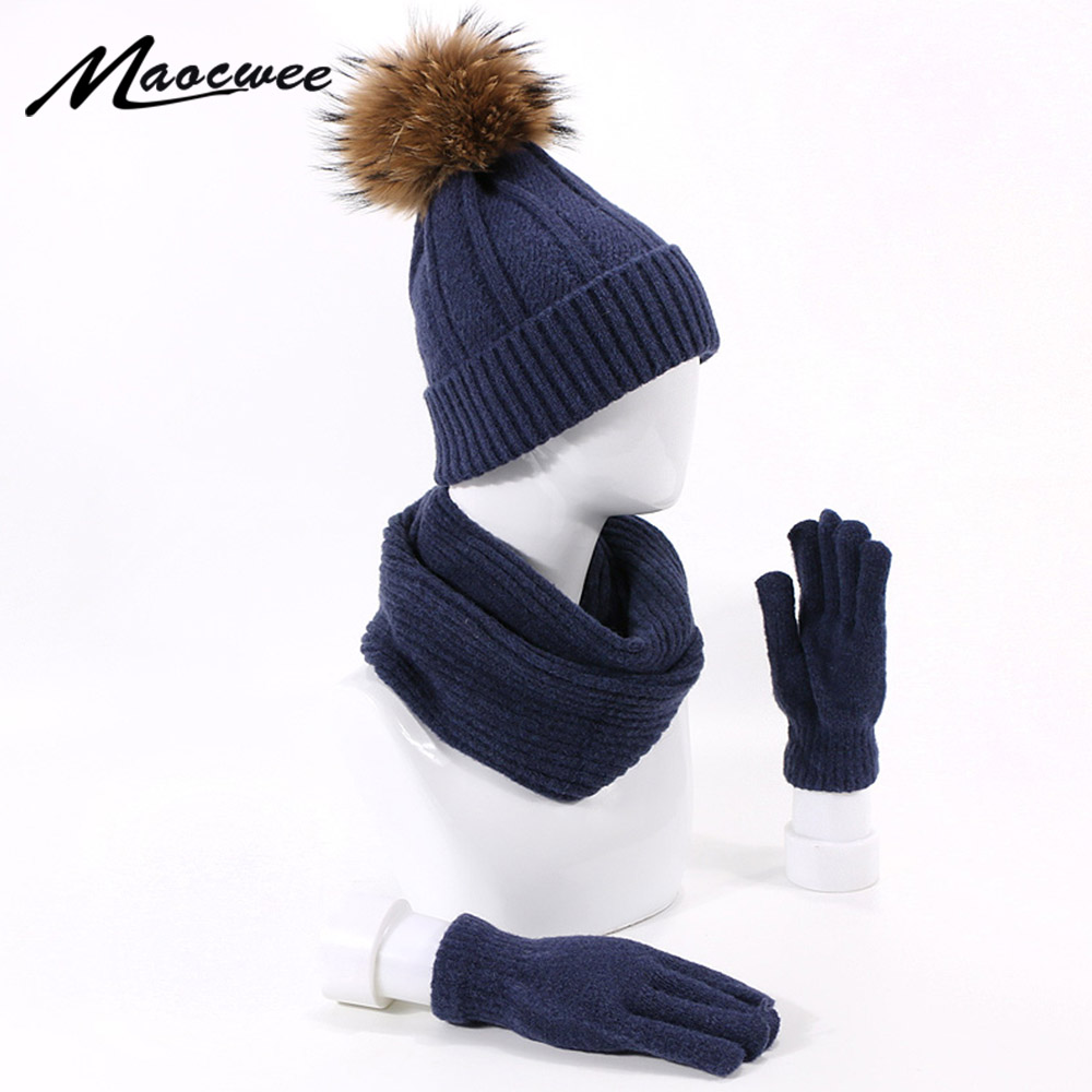 Winter Thicken Knitted Beanie Hat Scarf Gloves Set Solid Color Outdoor Warm Real Fur Pompom Skullies Beanie Hat Scarf Gloves Set