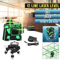 3D 12 линий регулируемые Лазерные уровни 360 самонивелирующийся Горизонтальный Вертикальный крест зеленый лазер водонепроницаемый луч измер...