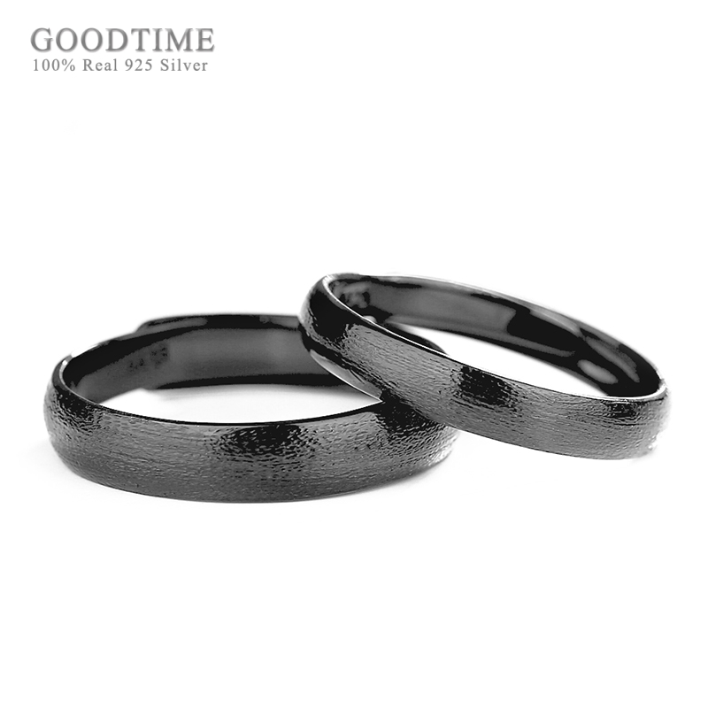 Sterling Silver Jewelry Trendy Black Ring 925 Sterling Silver Rings for Women / Man Ring Couple Jewelry Rings Valentine's Gifts