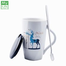 MyLifeUNIT Creative Ceramic Sika Deer Mugs with Handle Animal Pattern Tea Coffee Mug Cup Personalized Office Simple