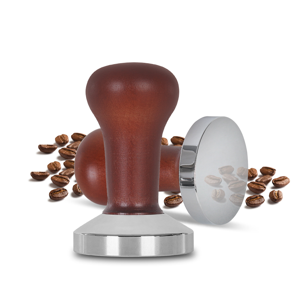 58mm Wooden Coffee Tamper Coffee Powder Hammer With 304 Stainless Steel Base Coffee Accessories