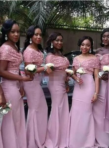 Bridesmaids dresses African long for women mermaid off the shoulder floor length wedding guest prom gowns sexy girls cheap