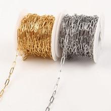 SAUVOO paslanmaz çelik altın kaplama ataç Link zinciri Oval O şekilli düz zinciri DIY takı zincirleri aksesuarları