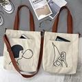 Холщовая сумка-мессенджер для женщин, вместительная универсальная холщовая Сумочка для покупок, Женская Студенческая дамская сумочка