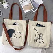 Saco de lona de grande capacidade bolsa de compras de lona versátil saco de lona de slung feminino estudante bolsa feminina